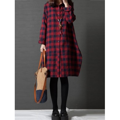Casual Mujer Lapel Long Sleeve Button Up Tartan Vestido