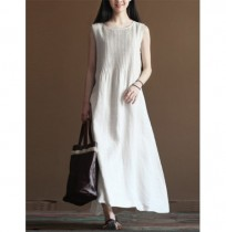 Pure Color Pleated Cotton Vestido
