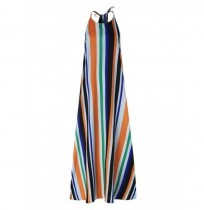 Sin mangas Halter Striped Holiday Playa Long Maxi Vestido
