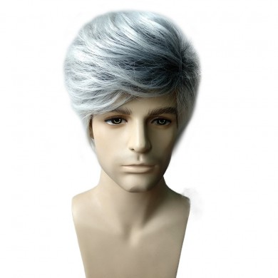 Fluffy Medium Grandma Gray Men Hair Wig Heat Resistant Synthetic Fiber