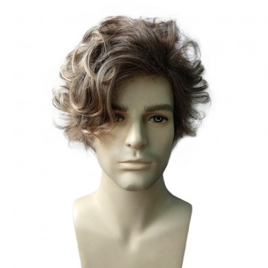 Mixed Color Fluffy Medium Men Hair Wig Heat Resistant Synthetic Fiber