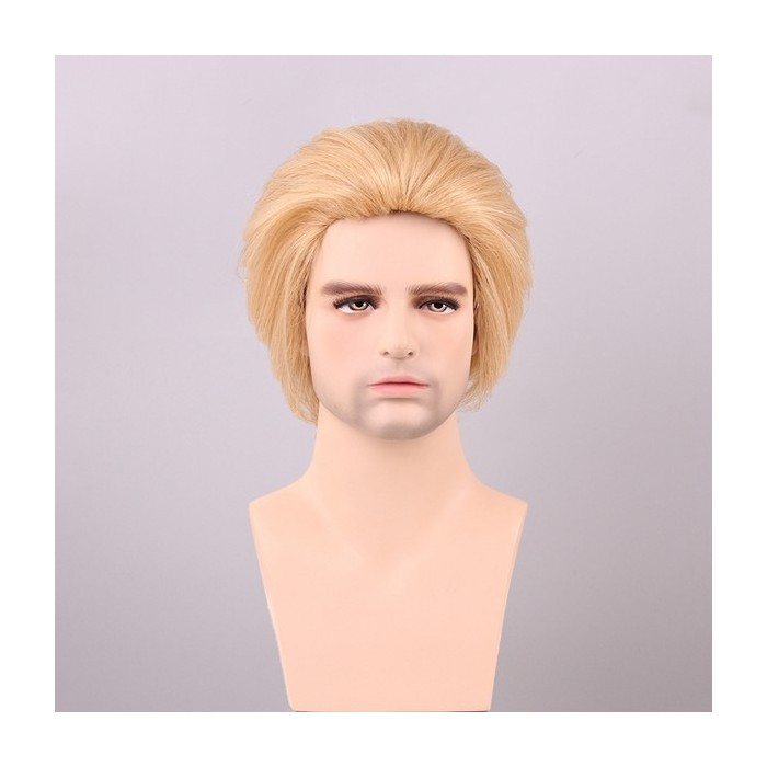 Golden Brown With Blonde Men Short Human Hair Wig Male Mono Top Virgin Remy Capless