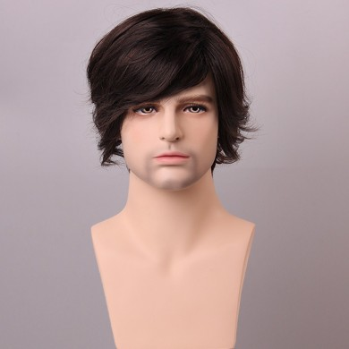 Fluffy Medium Brown Men Human Hair Wig Male Mono Top Virgin Remy Capless Side Bang