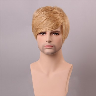 Blonde Men Short Mono Top Human Hair Wig Male Virgin Remy Capless Side Bang