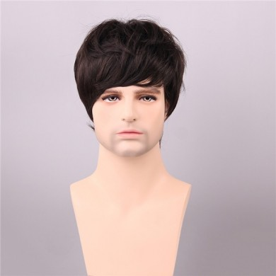 Medium Brown Human Hair Wigs Short Mono Top Male Virgin Remy Capless Side Bang