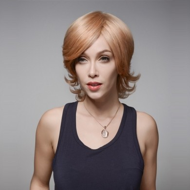 Virgin Remy Mono Top Capless Medium Side Bang Human Hair Wig 9 Colors 28cm