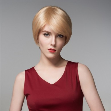 Cool Women Human Virgin Remy Hair Wig Short Mono Top Side Bang Straight 14 Colos