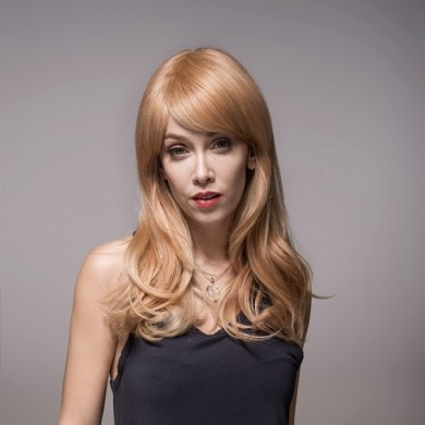 Remy Mono Human Blonde Hair Wig Side Bang Virgin Top Capless 8 Colors 59cm