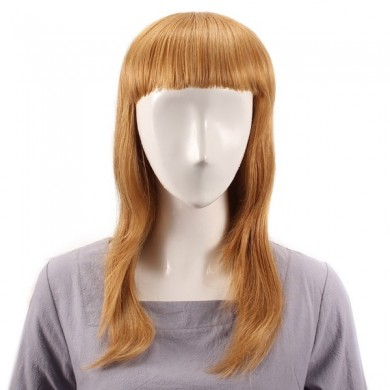 Long Straight Full Bang Wig Human Hair Wigs Virgin Remy Mono Top Capless