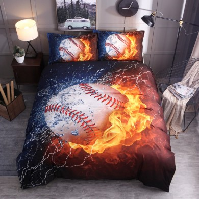 3PCS Bedding Sets Bedclothes Baseball Print  Quilt Duvet Cover Pillowcase Decor