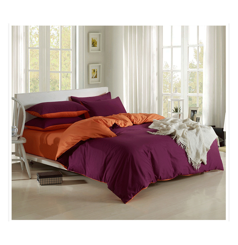 3 Or 4pcs Pure Cotton Purple Pink Color Assorted Plain Bedding Sets (Size: Full Size-Queen Size) фото