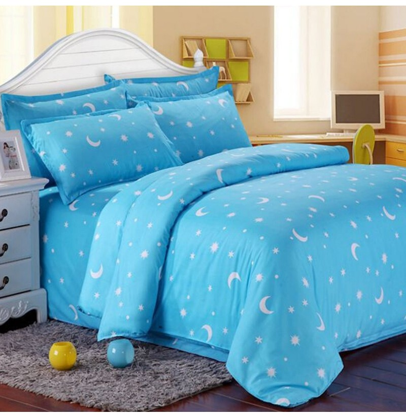 Cotton Blue Stars Moon Printing Bedding Set Bed Sheet Duvet Cover Pillowcase Single Queen King (Size: King Size) фото