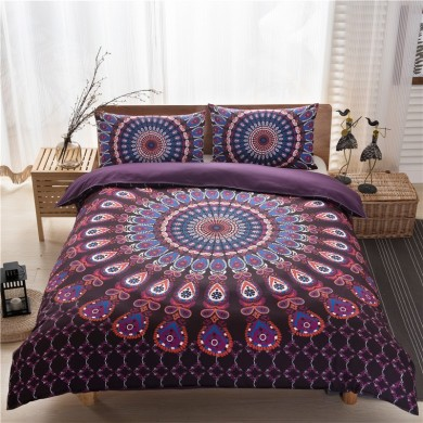 3pcs Bed Set Home Mandala Bedding Set Queen Sheets Soft Twill Bohemian Print Duvet Cover with Pilleckcases
