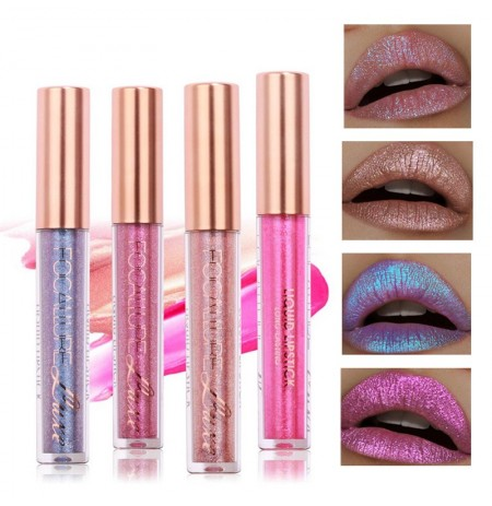 FOCALLURE 6 cores Metallic Matte Lip Gloss Liquid Diamond Brilho Lipsticks Cosmetics Maquiagem