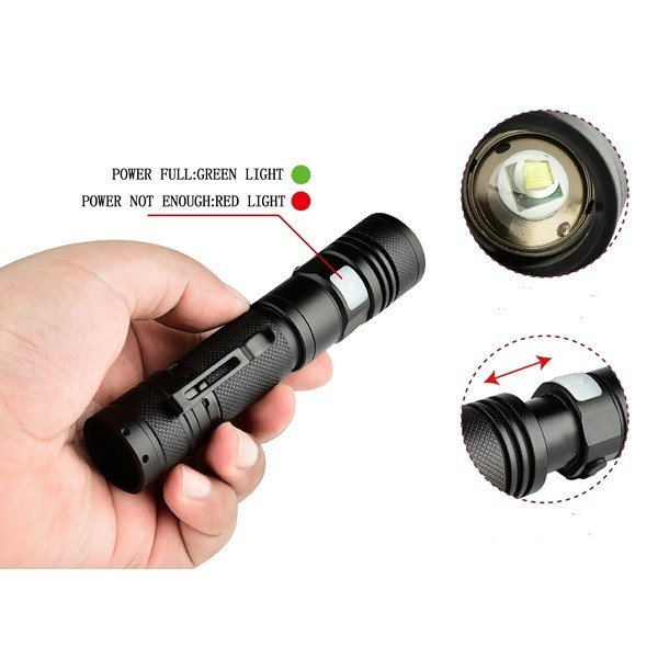 XANES 1301 XM-L T6 1500Lumens 5Modes USB Rechargeable LED Flashlight