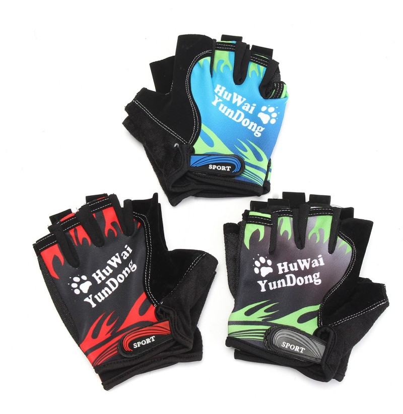 Nylon Breathable Motorcycle Bicycle Cycling Sports Half Finger Fingerless Gloves Mitts (Color: Blue) фото