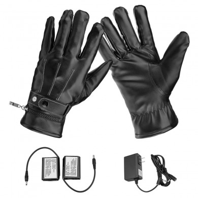 Motorcycle Electric Heated Gloves Touch Screen Leather Hand Warmer Rechargeable Battery