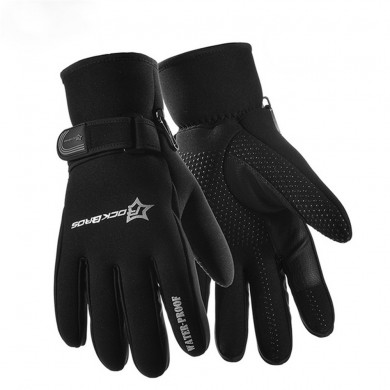 ROCKBROS Waterproof Windproof Motorcycle Cycling Thicken 3 Layer Gloves Fleece Thermal