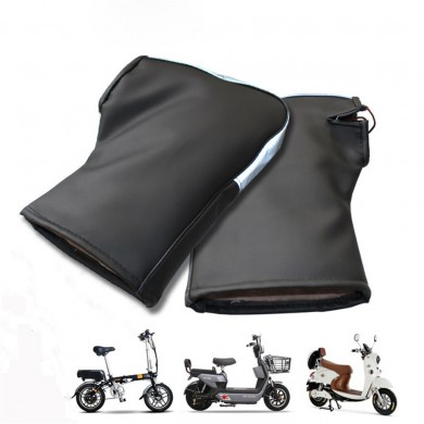 Pair Warm PU Windproof Thicken Motorcycle Scooter Waterproof Handlebar Soft Gloves With Reflective Strips