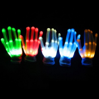 LED Lampeggiante Costantemente Glow Light Up Finger Glove Lighting Xmas Dance Party Cosplay