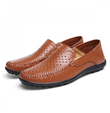 Men Flats Casual Outdoor Leather Hollow Out Flats Shoes