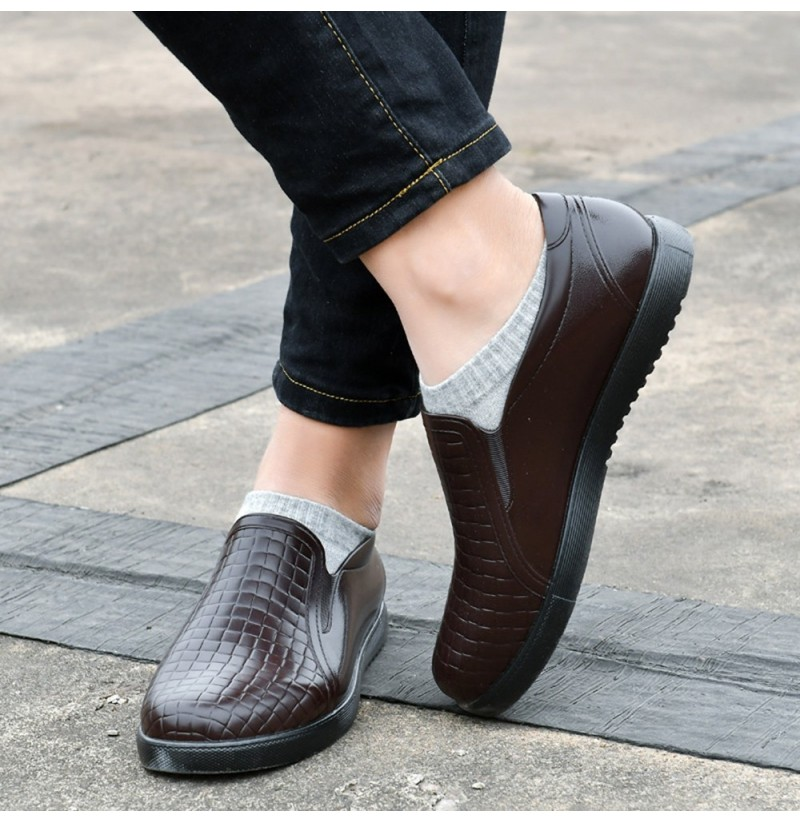 Men Casual Soft Sole Slip On Flats Waterproof Flat Loafers (Color: Brown, Size(US): 8) фото