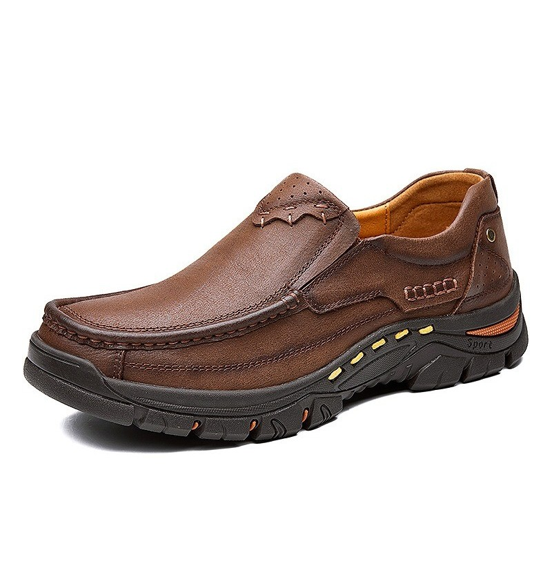 Men Soft Breathable Hiking Loafers (Color: Red brown, Size(US): 7.5) фото