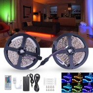 10M 600 LED Color Changing SMD3528 RGB LED Strip Tape Rope Light Kit IR Controller Adapter DC12V