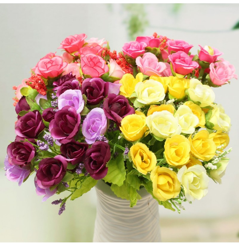 21 Heads Artificial Rose Bouquet Flower Fake Silk Wedding Home Decor Bedroom Decoration Gift (Color: Purple) фото