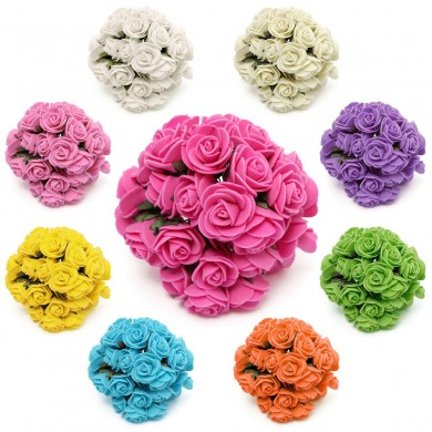 144 Pcs Artificial Flower Foam Rose Wedding Festival Home Party Indoor Party Decoration