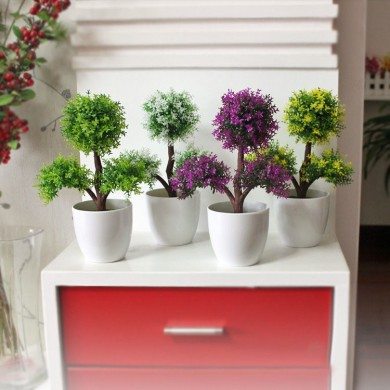 Simulation Of Three Branches Of Plants Potted Multi - Color Optional