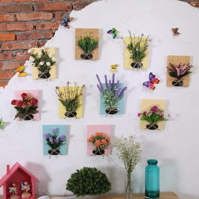 DIY Flores artificiales para la decoración Tablero de madera Colgante de pared Flores artificiales Flor