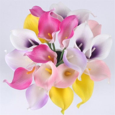 Natural Real Touch Flower Bouquet Calla Lily Boda Decoración Fake Flower For Home Party Festival Decor