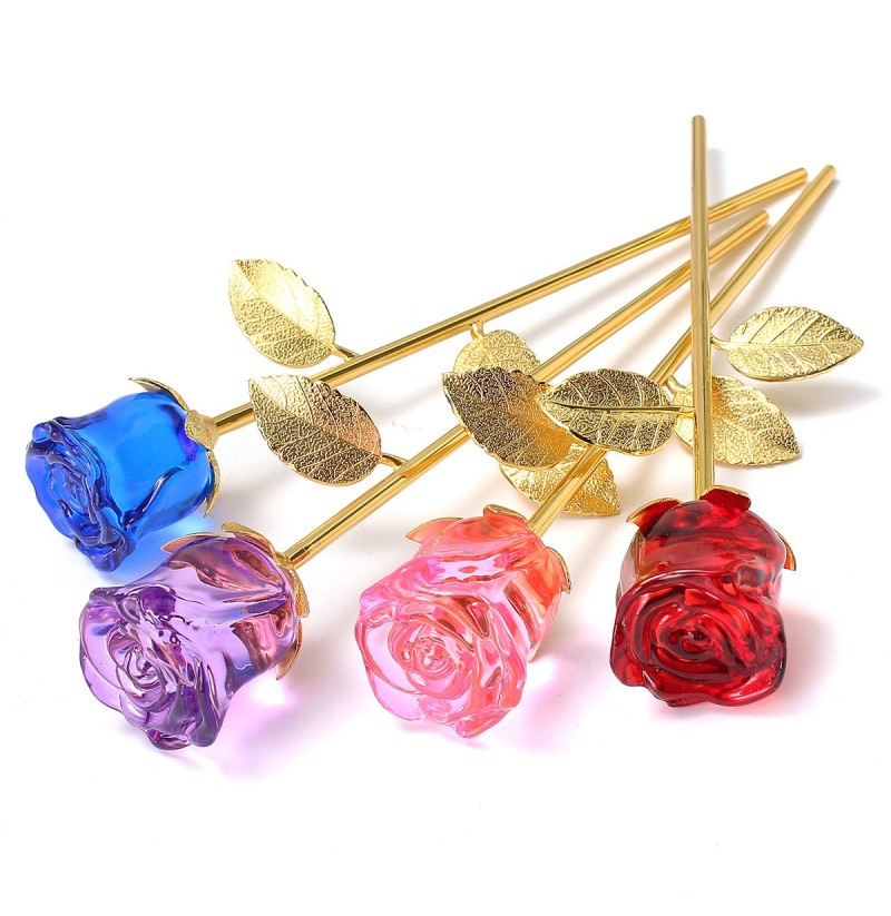 Crystal Glass Golden Roses Flower Ornament Valentine Gifts Present with Box Home Decorations (Color: Blue) фото