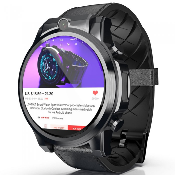 LOKMAT X360 4G 3+32G Dual HD Camera Watch Phone 1.6'' MOTO Touch Screen Optical Heart Rate Monitor Barometer Time Sync Sports Fi