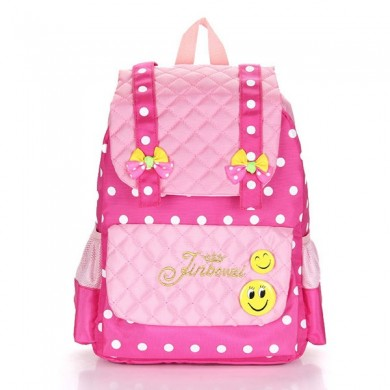 Students Girls Cartoon Nylon Backpack Casual Cute Smile School Bag Grade 1-3