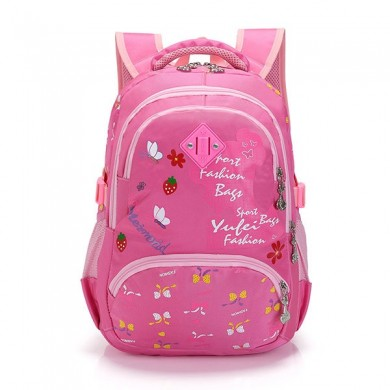 Grade 3-6 Students Girls Boys Floral Lovely Print Waterproof Nylon Backpack School Bag