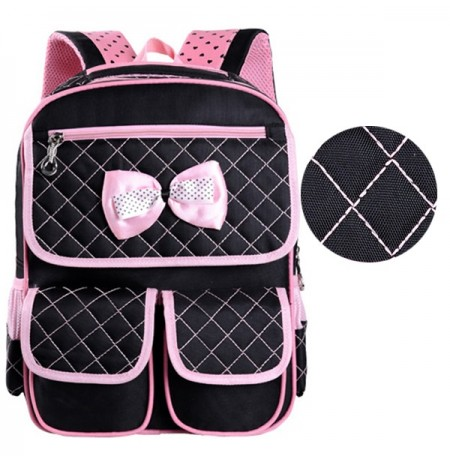Girls Students Bownot Lovely PU Leather Backpack Casual School Bag Grade 1-3