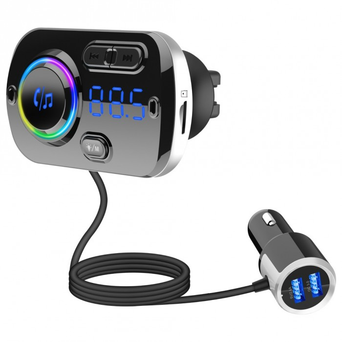 BC49BQ QC3.0 Fast Car Charger Voice Control bluetooth Handsfree MP3 Player Digital Lights