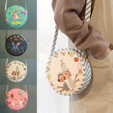 Girl PU Leather Crossbody Bag Cartoon Funny Casual Shoulder Bag