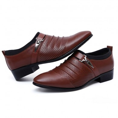 Мужчины Breathable Hollow Outs Leather Formal Business Shoes