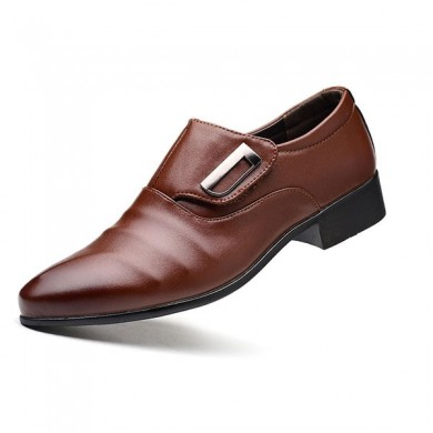 Мужчины Крюк Loop Pointed Toe Leather Business Formal Shoes
