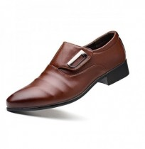 Homens Gancho Loop Pointed Toe Leather Business Formal Shoes