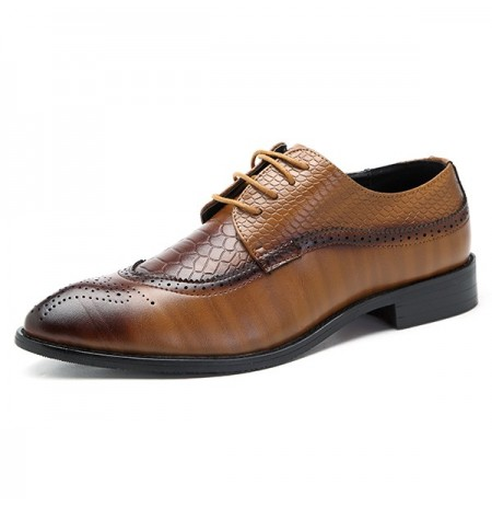 Men Brogue Style Genuine Leather Pointed Toe Business Formal Shoes
