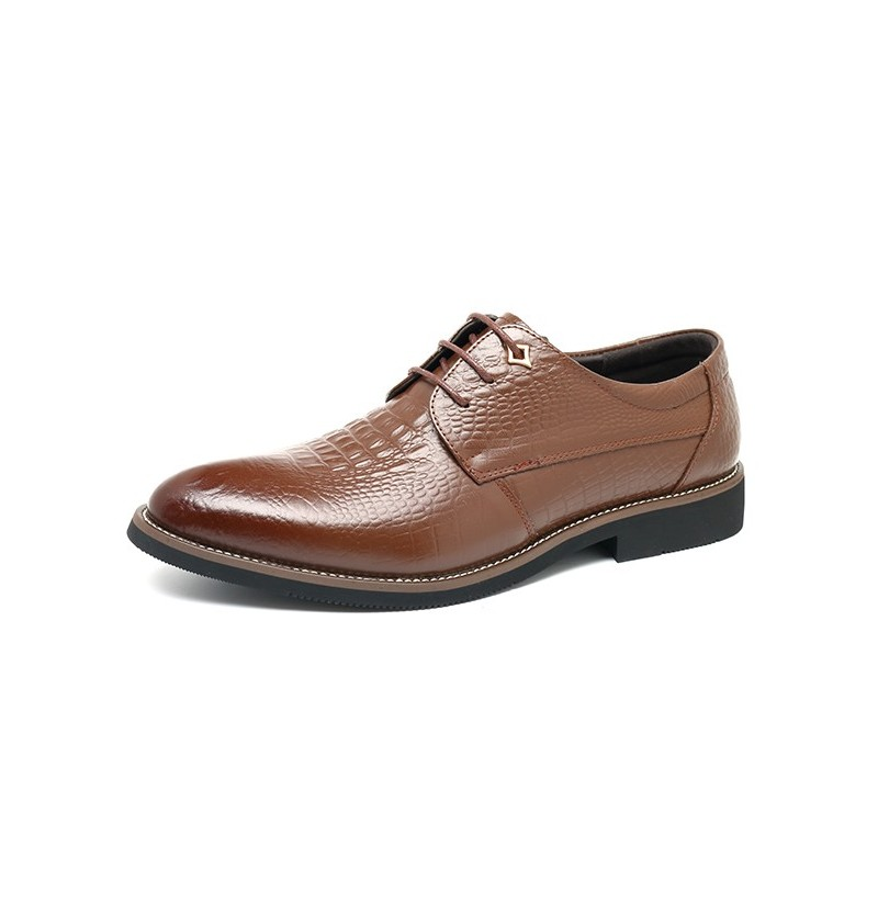 Men Leather Pointed Toe Business Dress Shoes (Color: Coffee, Size(US): 9) фото