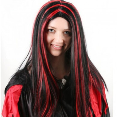 Halloween Party Full Hair Cosplay Wigs Anime Long Straight Hair Black With Red