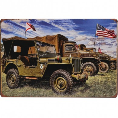 20x30cm Army World War II American JEEP Sign Metal Wall Decor Vintage Art Plaques Signs