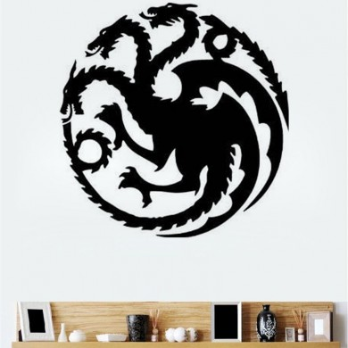 T-18 Game Of Thrones Tangeri Lian Targaryen Family Emblem Three Gold Dragão Autocolantes em parede esculpida