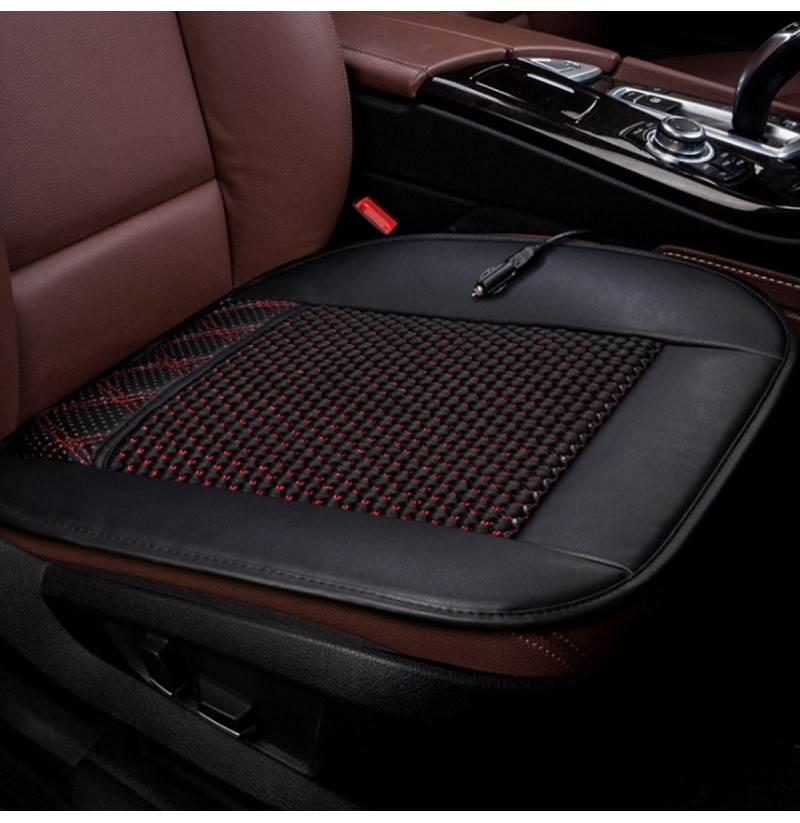 12V Cooling Car Seat Cushion Ventilate Breathable Air Flow Holes PU Leather + Mesh (Color: Brown) фото