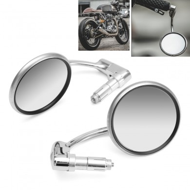 Manubrio Moto 7/8 'End View Metal Specchi Rotazione a 360 ° Cafe Racer Chrome